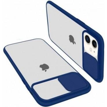 Θήκη διαφανη με slider για την camera για iphone 7/8 blue