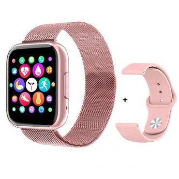 Smartwatch T99 bluetooth κλήσεις + ΔΩΡΟ Ανταλλακτικό Μεταλλικό Λουράκι (ροζ)