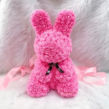 Λαγουδάκι Από Τεχνητά Τριαντάφυλλα  ροζ 25 cm