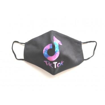 Μάσκα προστασίας υφασμάτινη πολλαπλών χρήσεων ενηλίκων-εφήβων μαύρη tik-tok