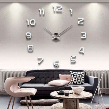 Μεγάλο τρισδιάστατο ρολόι τοίχου με αριθμούς
