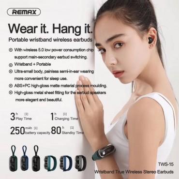 Remax tws15 Ασύρματα Bluetooth Ακουστικά με Βάση Φόρτισης λουράκι(Μαύρο)