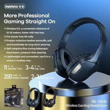 Wifi bluetooth Gaming ακουστικά remax rb-750hb blue-black