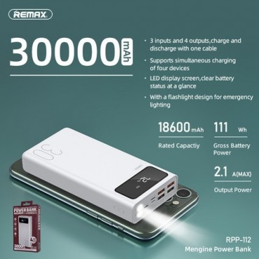 Remax RPP-112 Power Bank 30000mAh (Λευκό)