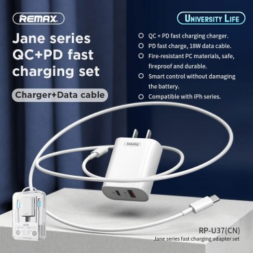 Remax Wall Charger 1x USB QC 1x USB Type-C 18W White (Με καλώδιο Lightning)