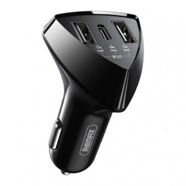 Αντάπτορας αυτοκινήτου REMAX RCC214 (Έξοδοι: 2 USB & 1 Type C)
