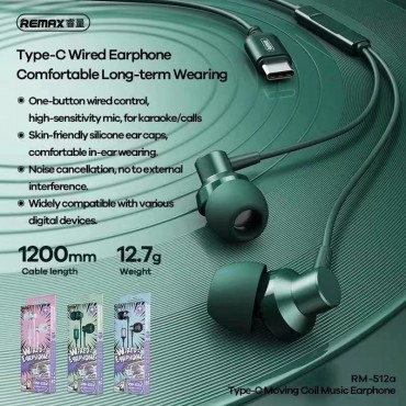 Remax type-c wired earphone rm-512a green