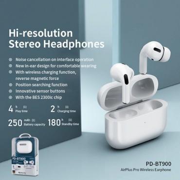 Ασύρματα ακουστικά remax PD-BT900 wireless Bluetooth True Wireless Stereo (TWS) με θήκη ασύρματης φόρτισης λευκό