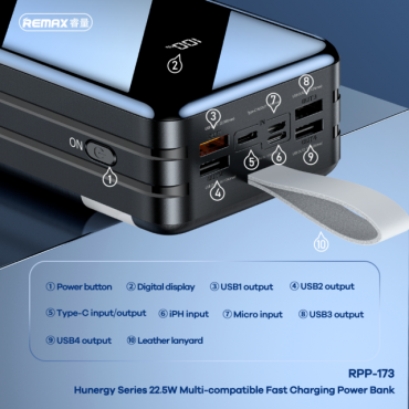 Remax RPP-173 Power Bank 60000mAh (μαύρο)