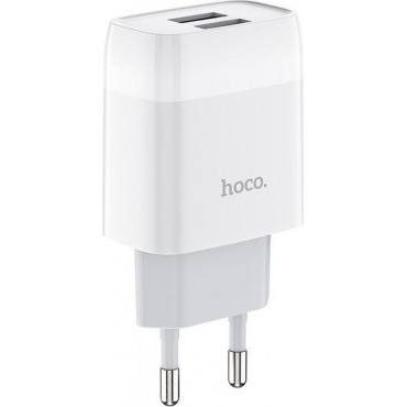 Hoco 2x USB Wall Adapter - C73A Glorious (Λευκό)
