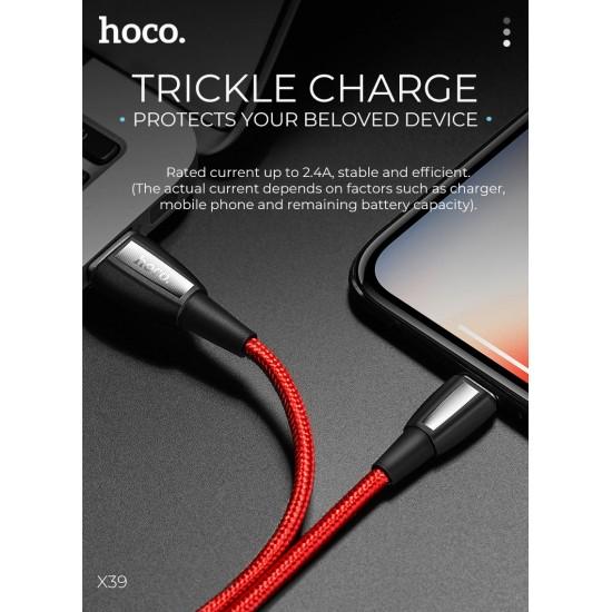 Καλώδιο Σύνδεσης Κορδόνι Hoco X39 Titan USB σε Lighting Fast Charging 2.4A - 1m (Μαύρο)