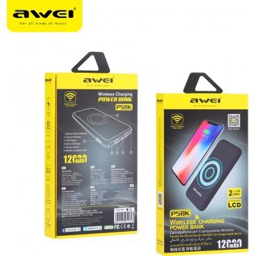 Power Bank + Βάση Ασύρματης Φόρτισης Awei P58K 12,000mAh black