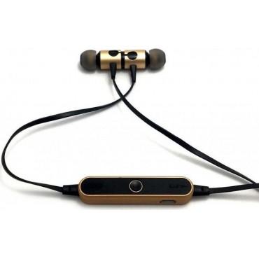 Ασύρματα Ακουστικά Bluetooth με Μαγνήτη και Μικρόφωνο Συμβατά με Android και iPhone, Sports Wireless Headset, AZ-25 - Cb black-gold