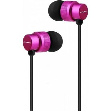 Ακουστικά και Handsfree Υψηλής Απόδοσης Awei ES-970i (Φούξια)