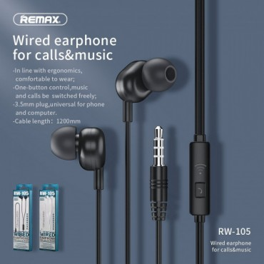Handsfree Ακουστικά με Ενσωματωμένο Μικρόφωνο - Remax RW-105 (Μαύρο)