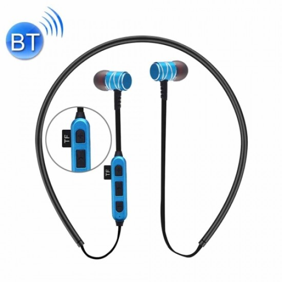 ST-K1 Wireless Magnetic Earbuds Bluetooth Sports Stereo MP3 Headphones with TF Card Slot blue