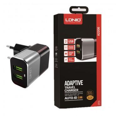 Γρήγορος Φορτιστής Ταξιδίου με 2 Θύρες USB 2.4A – LDNIO A2206
