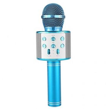 Ασύρματο bluetooth μικρόφωνο με ενσωματωμένο ηχείο και karaoke μπλε WSTER WS-858