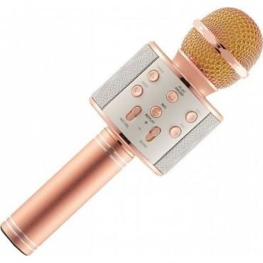Ασύρματο bluetooth μικρόφωνο με ενσωματωμένο ηχείο και karaoke ροζ χρυσό WSTER WS-858