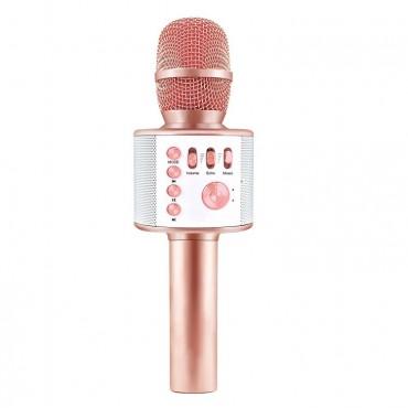 Ασύρματο Bluetooth ηχείο - καραόκε μικρόφωνο με USB ή MicroSD ροζ Η12