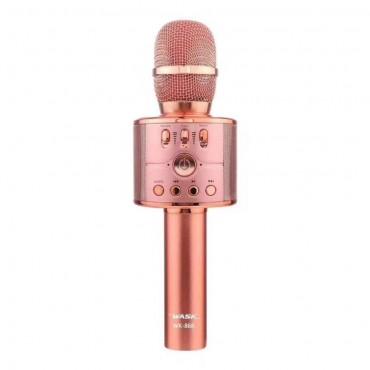 Ασύρματο Bluetooth ηχείο - καραόκε μικρόφωνο με  ροζ wk-868