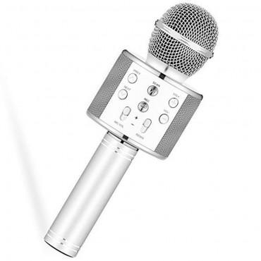 Ασύρματο bluetooth μικρόφωνο με ενσωματωμένο ηχείο και karaoke WSTER ασημι WS-858