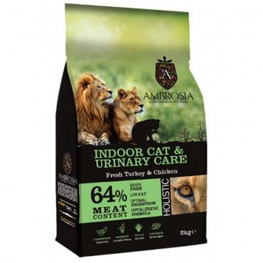 Ambrosia Grain Free Indoor Cat & Urinary Care - Φρέσκια Γαλοπούλα & Κοτόπουλο (2kg)