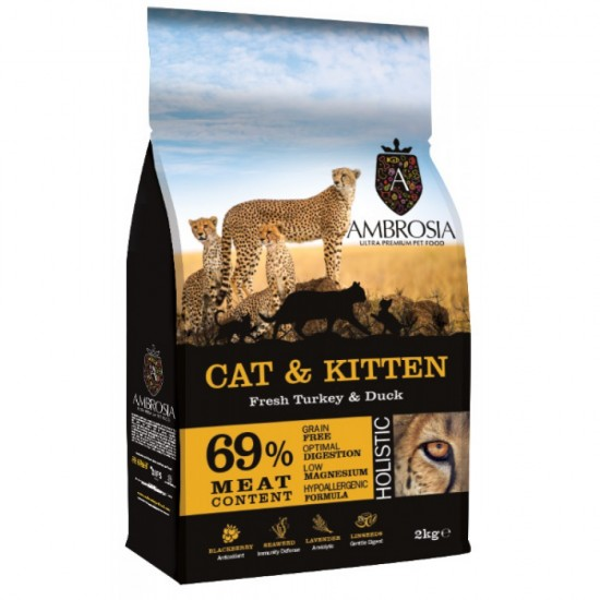 Ambrosia Grain Free Cat & Kitten - Φρέσκια Γαλοπούλα & Πάπια (2kg)
