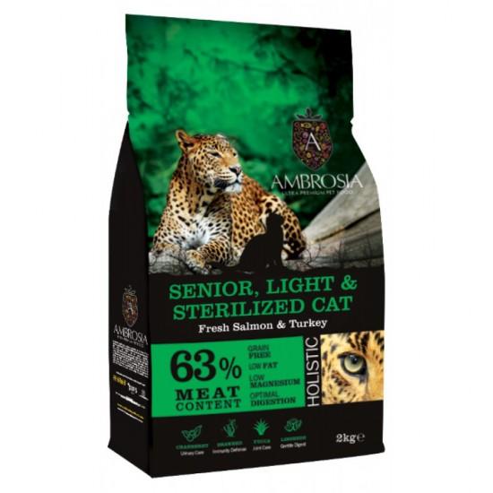 Ambrosia Grain Free Senior Light & Sterilized Cat - Φρέσκος Σολομός & Γαλοπούλα (2kg)