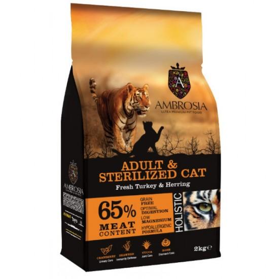 Ambrosia Grain Free Adult & Sterilized Cat - Φρέσκια Γαλοπούλα & Ρέγγα (2kg)