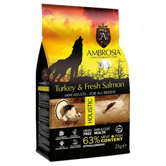 Ambrosia Grain Free Adult Mini - Γαλοπούλα-Σολομός (2kg)