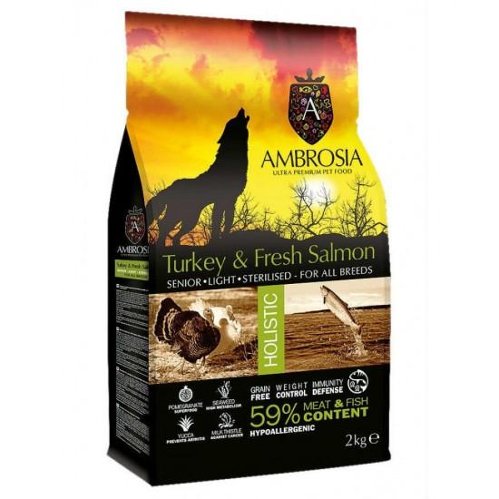 Ambrosia Grain Free Senior-Light - Φρέσκια Γαλοπούλα & Σολομός (2kg)