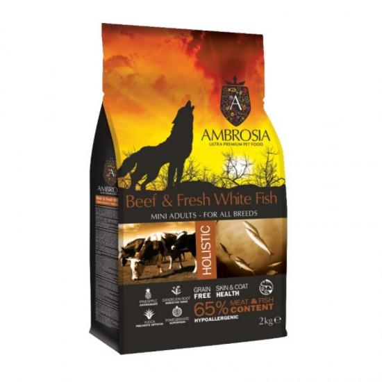 Ambrosia Grain Free Adult Mini Βοδινό-Φρέσκα Λευκά Ψάρια (2kg)