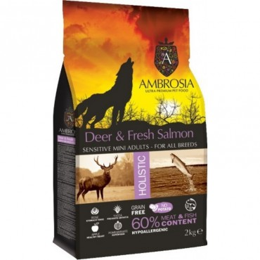 Ambrosia Grain Free Adult Mini - Ελάφι-Φρέσκος Σολομός (2kg)