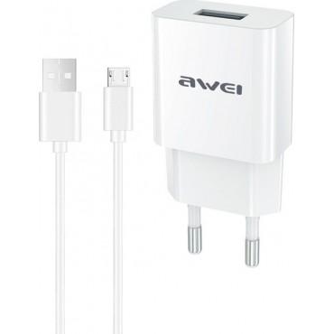 Φορτιστής με καλώδιο Micro Usb (λευκό)  Awei C-831