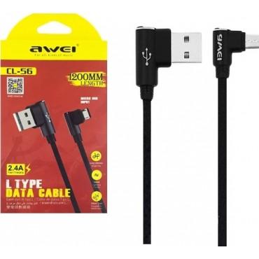 Καλώδιο Δεδομένων USB Awei CL-56 1.2m (Μαύρο)