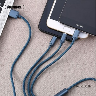 Remax 3 in 1 Cable USB to Lightning / Type-C / Micro USB 115cm (RC-131th) (Μπλε)