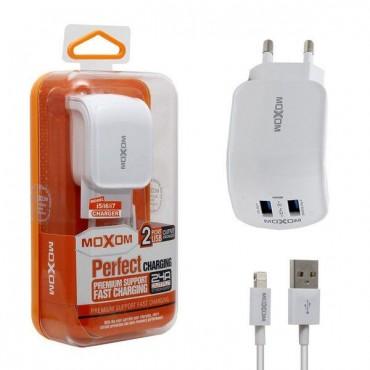 Φορτιστής ταξιδίου MOXOM Fast Charge KH-25 2xUSB 2.4A με καλώδιο Micro USB White