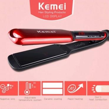 Ισιωτική Μαλλιών με Ψηφιακές ενδείξεις και Φαρδιές Κεραμικές Πλάκες KEMEI ΚΜ-9620