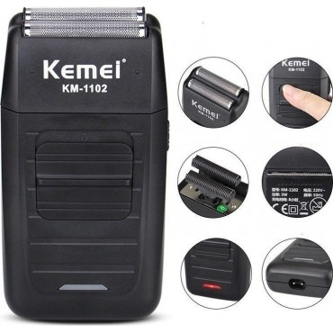 Φορητή ξυριστική μηχανή επαναφορτιζόμενη Kemei KM-1102