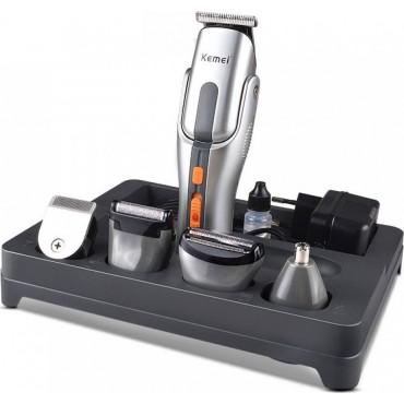 Σετ Κουρευτικής και Ξυριστικής Μηχανής για Μαλλιά και Γένια 8 σε 1 Kemei KM-680